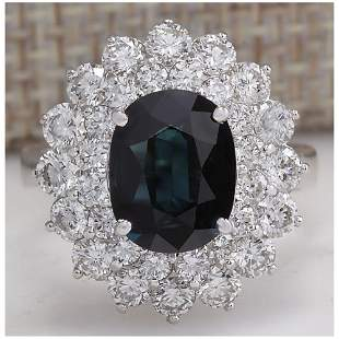 4.97 CTW Natural Blue Sapphire Diamond Ring 18K Solid