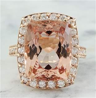 14.90 CTW Morganite 14K Rose Gold Diamond Ring