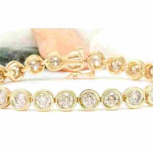 9.96 CTW Natural Diamond 14K Solid Yellow Gold Bracelet