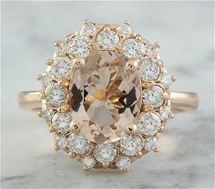 3.90 CTW Morganite 18K Rose Gold Diamond Ring