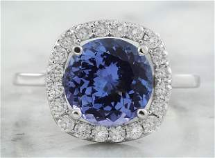 3.73 CTW Tanzanite 14K White Gold Diamond Ring