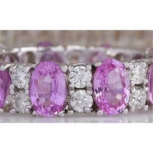 7.71 CTW Natural Pink Ceylon Sapphire Diamond Ring 18K