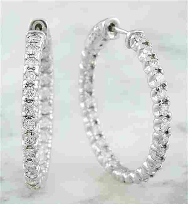 1.40 CTW 14K White Gold Diamond Hoop Earrings