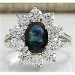 2.83 CTW Natural Blue Sapphire Diamond Ring 14K Solid