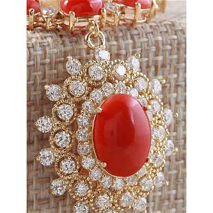33.22 CTW Natural Red Coral And Diamond Necklace In 14K