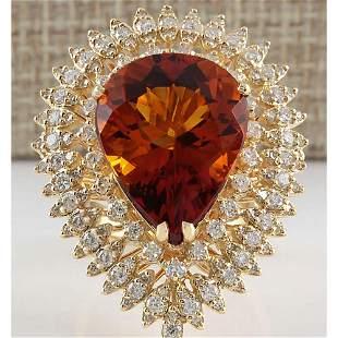 17.40 CTW Natural Madeira Citrine And Diamond Ring 14K