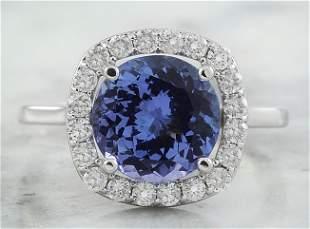 3.73 CTW Tanzanite 18K White Gold Diamond Ring