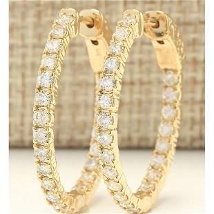 2.00 CTW Natural Diamond Hoop Earrings 14k Solid Yellow