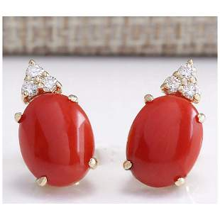 4.34 CTW Natural Red Coral And Diamond Earrings 14K