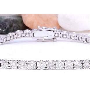 1.50 CTW Natural Diamond 14K Solid White Gold Bracelet