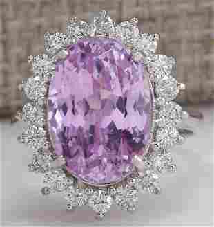 11.03 CTW Natural Pink Kunzite And Diamond Ring In 18K