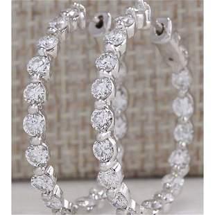 4.28 CTW Natural Diamond Hoop Earrings 14K Solid White