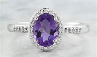 1.16 CTW Amethyst 14K White Gold Diamond Ring