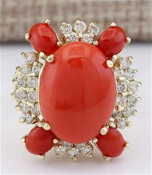 9.71 CTW Natural Coral And Diamond Ring In 14k Yellow