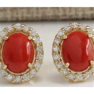 3.10 CTW Natural Red Coral And Diamond Earrings 14K