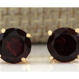 3.00 CTW Natural Garnet Earrings 14k Solid Yellow Gold