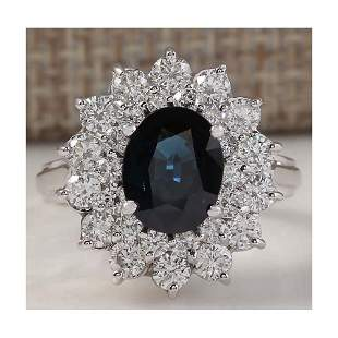 3.51 CTW Natural Blue Sapphire Diamond Ring 14K Solid