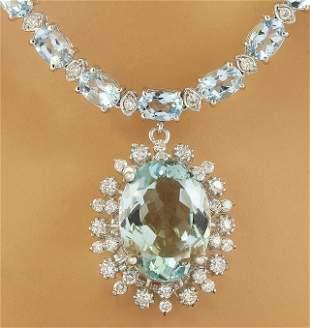 39.80 CTW Aquamarine 18K White Gold Diamond Necklace