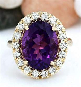 8.40 CTW Natural Amethyst 18K Solid Yellow Gold Diamond