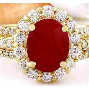 3.73 CTW Natural Ruby 18K Solid Yellow Gold Diamond