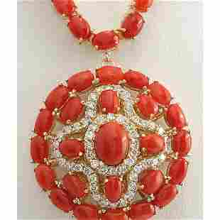 45.00 CTW Natural Red Coral And Diamond Necklace In 18K