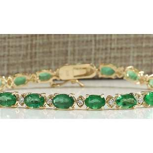 8.86 CTW Natural Colombian Emerald And Diamond Bracelet