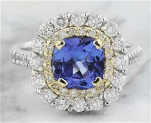 2.71 CTW Tanzanite 18K Two Tone Gold Diamond Ring