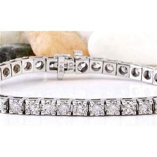 9.89 CTW Natural Diamond 14K Solid White Gold Bracelet