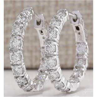 3.10 CTW Natural Diamond Hoop Earrings 14k Solid White
