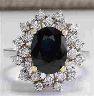 4.83 CTW Natural Blue Sapphire Diamond Ring 18K Solid