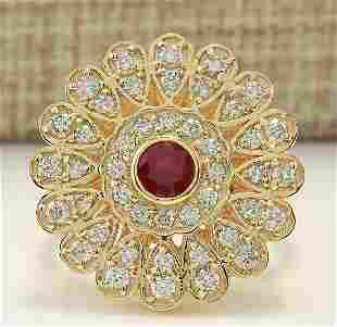 1.40 CTW Natural Ruby And Diamond Ring In 18K Yellow