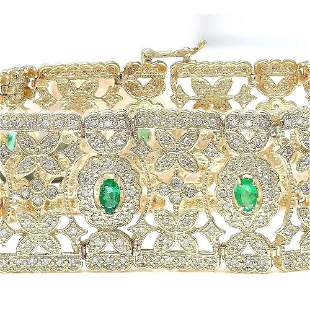7.63 CTW Natural Emerald 18K Solid Yellow Gold Diamond