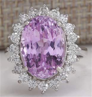 11.03 CTW Natural Pink Kunzite And Diamond Ring In 14K
