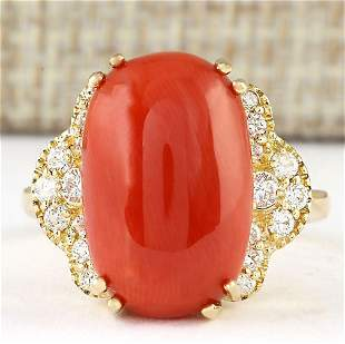 9.33 CTW Natural Coral And Diamond Ring In 14k Yellow