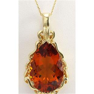 32.00CTW Natural Madeira Citrine Pendant In 14K Solid