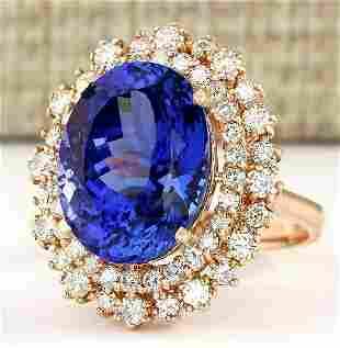 13.49 CTW Natural Tanzanite And Diamond Ring In 14k