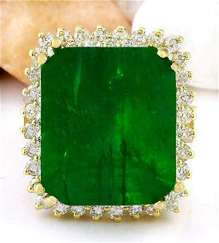 16.13 CTW Natural Emerald 14K Solid Yellow Gold Diamond