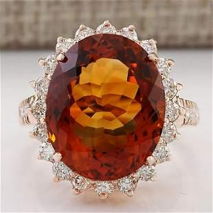 13.49 CTW Natural Madeira Citrine And Diamond Ring 14k