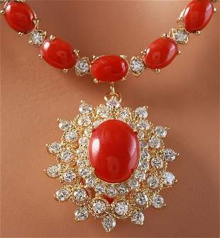 48.42 CTW Natural Red Coral And Diamond Necklace In 14K