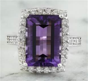 7.09 CTW Amethyst 18K White Gold Diamond Ring