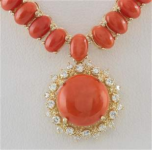 63.65 CTW Natural Red Coral And Diamond Necklace In 18K