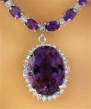 43.05 CTW Amethyst 14K White Diamond Necklace