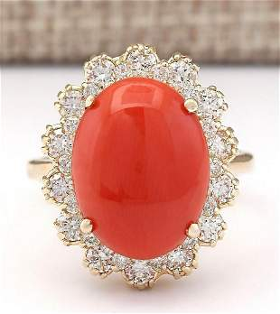7.98 CTW Natural Coral And Diamond Ring In 14k Yellow