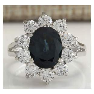 3.41 CTW Natural Blue Sapphire Diamond Ring 18K Solid