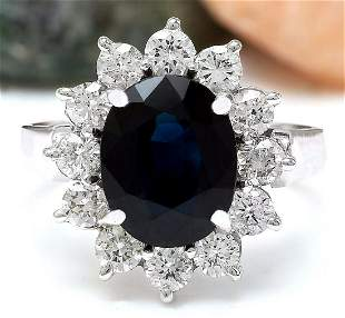 4.55 CTW Natural Sapphire 14K Solid White Gold Diamond