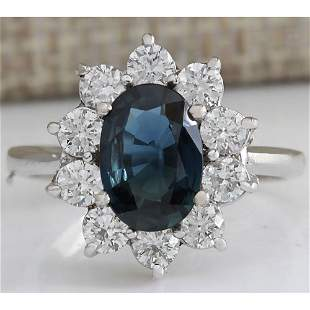 3.12 CTW Natural Blue Sapphire Diamond Ring 18K Solid