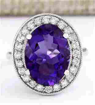 6.81 CTW Natural Amethyst And Diamond Ring In 18K White