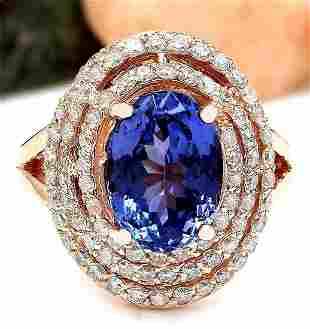 5.33 CTW Natural Tanzanite 14K Solid Rose Gold Diamond