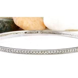 0.25 CTW Natural Diamond 14K Solid White Gold Bracelet