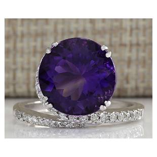 9.22CTW Natural Amethyst And Diamond Ring In 18K Solid